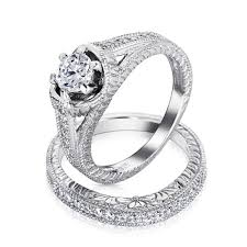 bridal sets rings 1 5 ct cz sterling silver vintage engagement wedding ring set