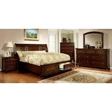 wood sleigh bed with storage drawers footboard
