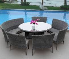 artistic round patio table set with small ceramic planter pots
