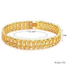metal men bracelet images Shiny 18k gold plated rhombus metal link chain bracelet men jpg