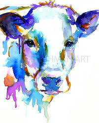 cow watercolor print animal watercolor cow painting print