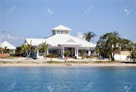 tropical house near the caribbean sea tropical view stock photo