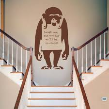 banksy monkey wall stickers decals chocolate brown banksy monkey wall decal stairway landing