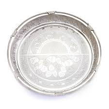 engraved silver platter beautifully engraved nagas work silver plate