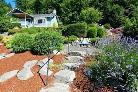 Beautiful Front Yard Landscaping - house with beautiful front yard landscape and outdoor rest area