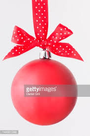 ornament hanging from ribbon pedestal stock photo