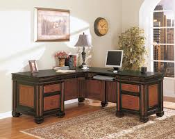 Office Desk With Hutch L Shaped by Brwon Veneered Particle Boars Mixed Black Solid Wood Corner
