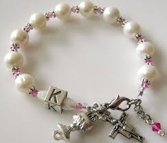 personalized rosary pearl pink crysal bracelet cross catholic name necklace