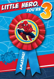 spiderman thanksgiving spider man 3rd birthday card with wearable ribbon greeting cards