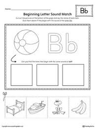letter b beginning sound color pictures worksheet printable