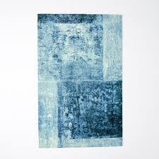 Blue Wool Rug Distressed Rococo Wool Rug Blue Lagoon West Elm