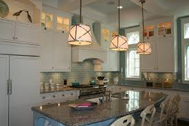 Stacks Coastal Kitchen - glass tile backsplash pictures kitchen beach with coffered ceiling
