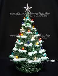 green ceramic trees with snow ceramic tree