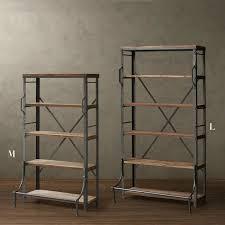 loft american country retro mining wood wrought iron shelf