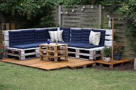 Outdoor Wood Sofa Plans Captivating Navy Blue Colored Tufted Seat Of L Shaped Wooden Sofa