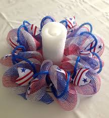 mesh table centerpiece candle holder red white blue with ribbons
