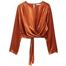 brown blouse mango satin wrap blouse 80 liked on polyvore featuring tops