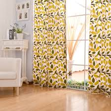 Curtains For Yellow Living Room Decor Yellow Cotton Living Room Leaf Pattern Curtains
