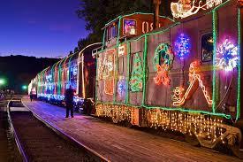 christmas lights train ride niles canyon railway train of lights is best north pole train ride