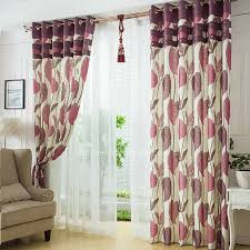 Country Curtains Purple Leaves Pattern Linen And Cotton Blend Fabric Country