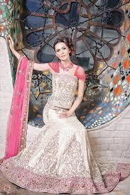 wedding dresses ivory gold brocade silk reception lengha with