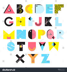 colorful alphabet style textures ornaments stock vector