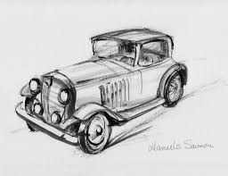 classic car sketch drawing pencil