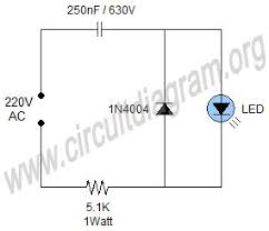 simple 220v mains indicator led circuit diagram eletronica