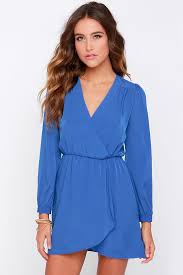 blue dress wrap dress sleeve dress 49 00