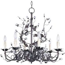 Bronze Chandelier With Crystals 6 Light Candle Chandelier With Leaves Crystals Vines In Oil