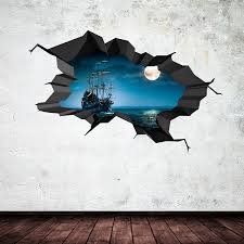 3d Bedroom Wall Paintings Amazon Com Pirate Ship Sea Cave Porthole Moon Cracked 3d Wall Art