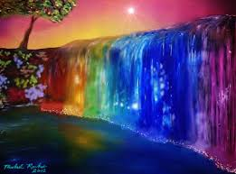 images of rainbow over waterfall flowers sc