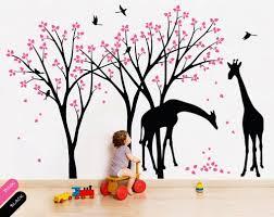 Removable Nursery Wall Decals Tree Wall Decals Giraffe Birds Vinyl Wall Sticker Decor