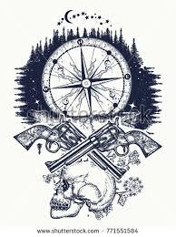 skull guns compass crime tattoo tshirt stock vector 771551584