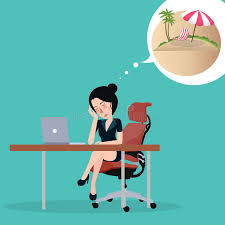 le bureau fille fille rêvant des vacances se reposer dans le bureau au rêve de lieu