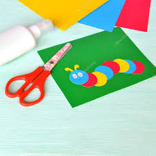 children u0027s cardboard crafts colored caterpillar on a green paper