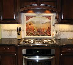 Kitchen Design Range Hood Painted Sunflower Decorations For - Stainless steel cooktop backsplash