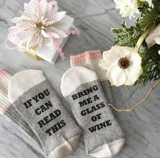 sale wine socks if you can read this sock birthday for her