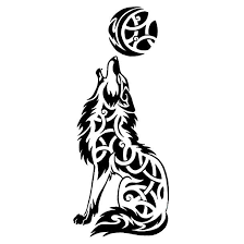 wolf howling at the moon design