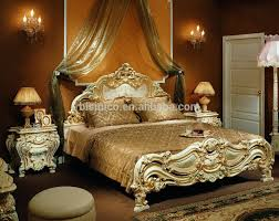 King Size Bedroom Set Solid Wood Luxury European Style Antique Finishing Wooden Hand Carving High