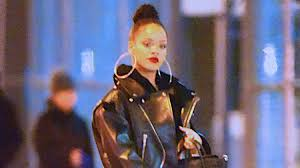rihanna hoop earrings rihanna wears hoop earrings with leather jacket