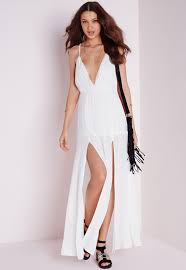 white maxi dress cheesecloth plunge maxi dress white missguided