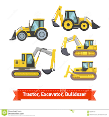 tractor excavator bulldozer set stock vector image 65354040