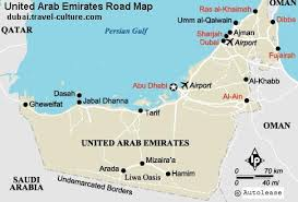 uae map uae road map showing different cities and town of uae and other
