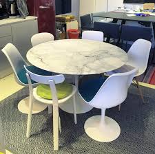 saarinen dining table round 120cm arabescato marble classic finish