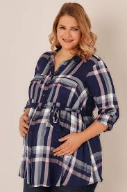 bump it bump it up maternity blue pink check shirt with waist tie plus