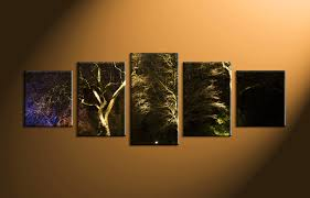 Forest Home Decor by 5 Piece Scenery Trees Black Large Canvas