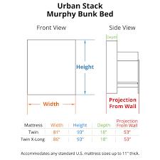 bunk bed measurements urban stack murphy bunk bed murphy bunk beds bredabeds