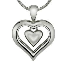 chain necklace with heart images Eternity heart cremation ashes necklace with rhodium finish jpg