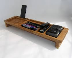 wood desk organizer tray office organization phone stand desk